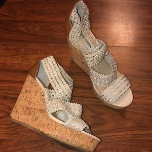 Crochet cream Steve Madden strappy heels